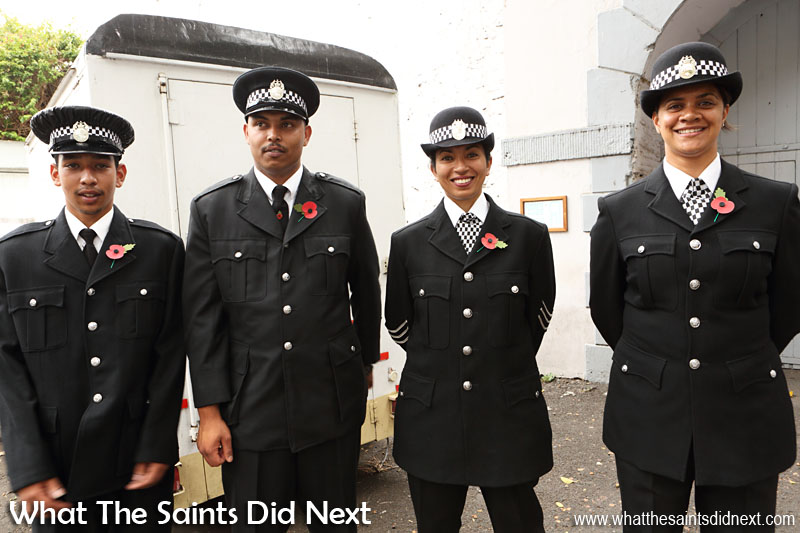 St Helena, Remembrance Day 2015. Members of the St Helena Police Service.