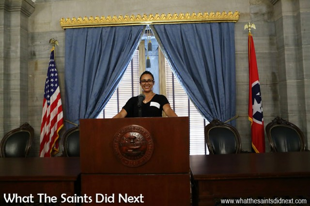 The Tennessee State Senate also has a speaker of the house, chosen by the other senators. This position is quite important as the speaker is also the lieutenant governor of Tennessee. (Sharon taking the podium to announce the arrival of What The Saints Did Next)
