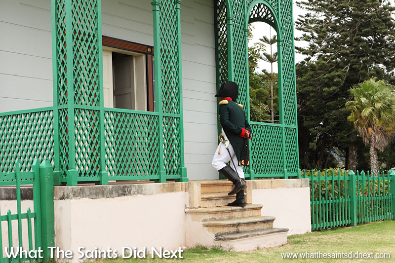 Bicentenary re-enactment on 10 December 2015, of Napoleon Bonaparte entering Longwood House for the first time, his permanent residence on St Helena. The real Napoleon did this 200 years before today, on 10 December 1815.