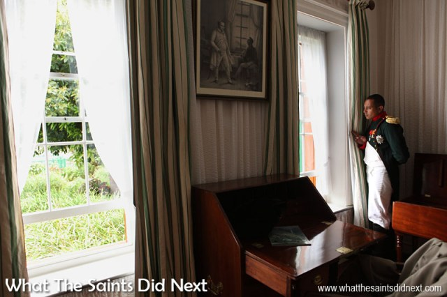 Looking out. The Saint Napoleon inside Longwood House on 10 December 2015, re-enacting the 10 December 1815 arrival of Napoleon at his permanent residence on St Helena. St Helena exile Napoleon Bonaparte.