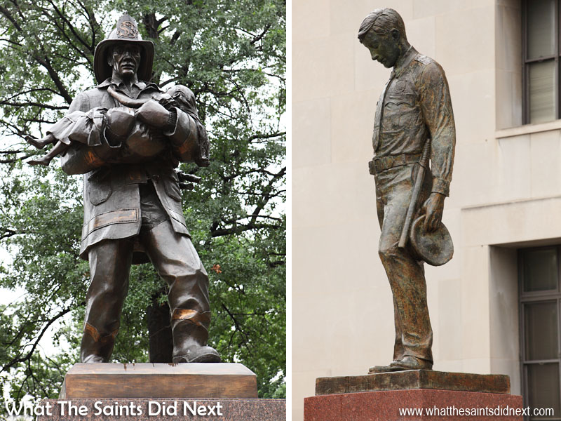 Take a walk up Market Street to see statues, monuments and historic buildings significant to St Louis, including these memorials dedicated to the city's Police and Fire-fighter services.