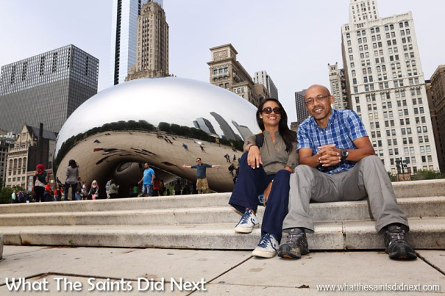 The Cloud Gate sculpture in Chicago's Millennium Park was designed by Indian-born British artist Anish Kapoor. Who knew a mirror could be so much fun! Click Here to check out all our pictures of the Chicago Bean as it is sometimes called.