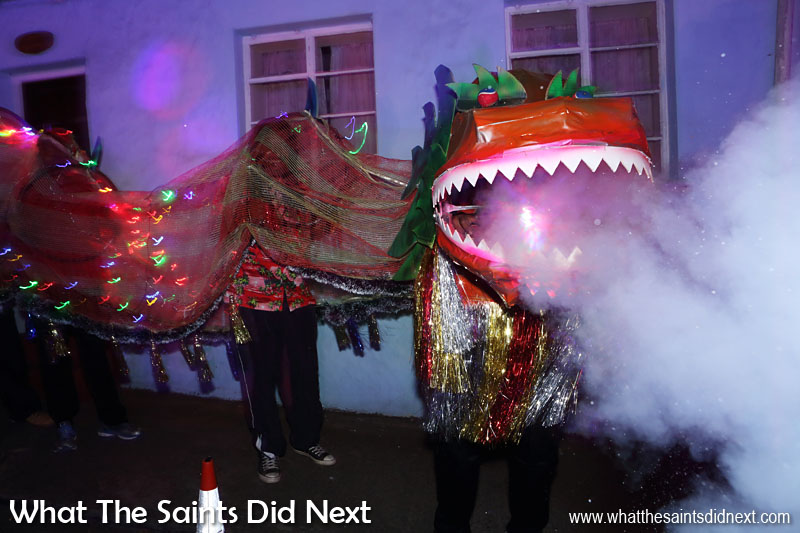 St Helena Christmas street parade the Festival of Lights 2015 - A great dragon entry from St Pauls.