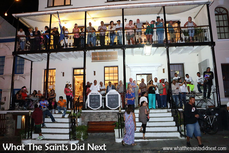 St Helena Festival of Lights 2015 - The Consulate Hotel makes and ideal viewing platform as the parade moves into Main Street.