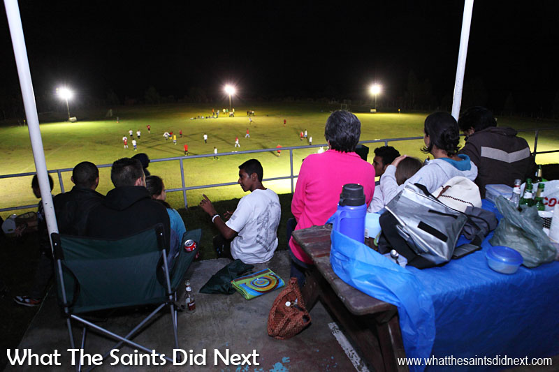 First football game on St Helena played under floodlights. The match took place on Francis Plain, St Helena's only sports field, illuminated with lights temporarily loaned from airport construction company, Basil Read. Click Here for the full story with pictures.