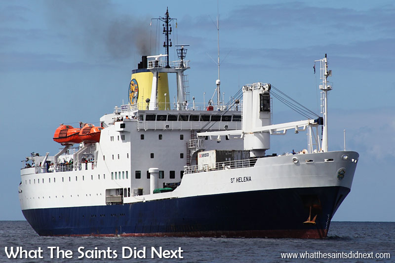 The RMS St Helena, has faithfully served the Island of St Helena for 26 years. She has been the only scheduled, physical link to the outside world for the island and its inhabitants, but in 2016 the ship is due to be decomissioned when the brand new airport comes online. At the moment, everyone who comes in or out of St Helena travels on the RMS St Helena, including us.