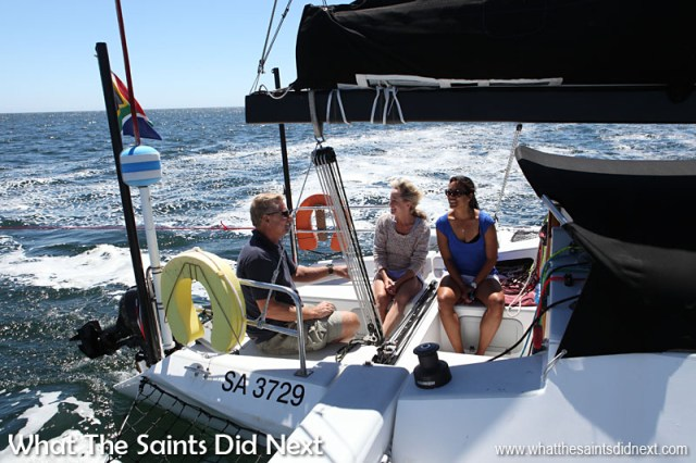 Our day out sailing on Banjo with skipper Kevin Webb and his wife Diane was probably one of the most thrilling 'travel' experiences of the year that we had. Having never sailed before to suddenly racing across the waves in South Africa at 18 knots was breathtaking in every sense. Banjo is a three hull yacht and has twice won line honours in St Helena's Governor's Cup Yacht Race.