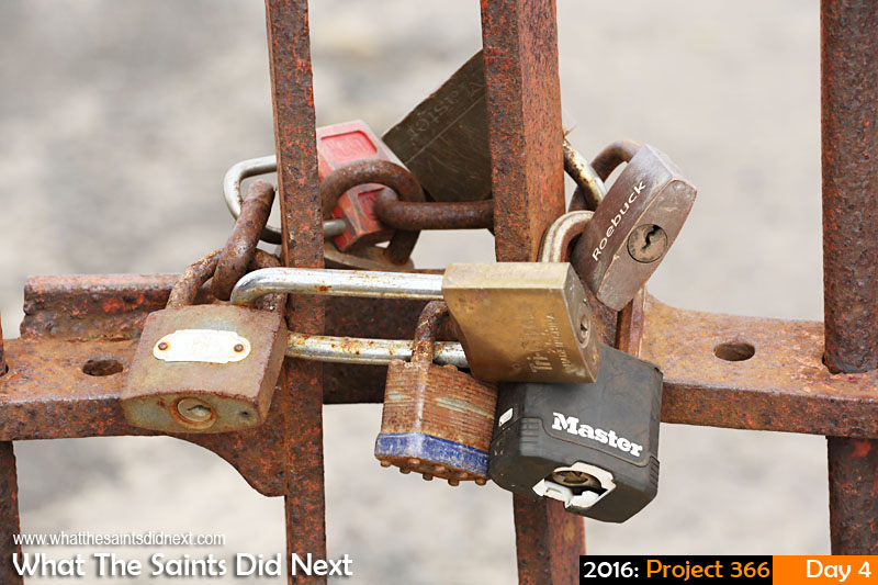 'Pick one'<br /> 4 Jan 2016, 08:47 - 1/160, f/11, ISO-200<br /> Locks on the gate.
