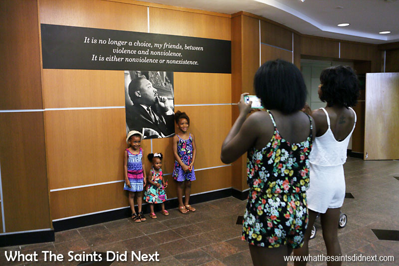 Visitors inside the Visitor Center of the National Historical Park Atlanta.
