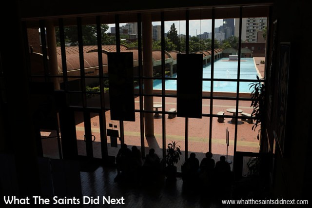 The Grand Foyer of Freedom Hall at 449 Auburn Avenue, looks out through the giant windows onto the reflecting pool and tomb of Dr and Mrs King.