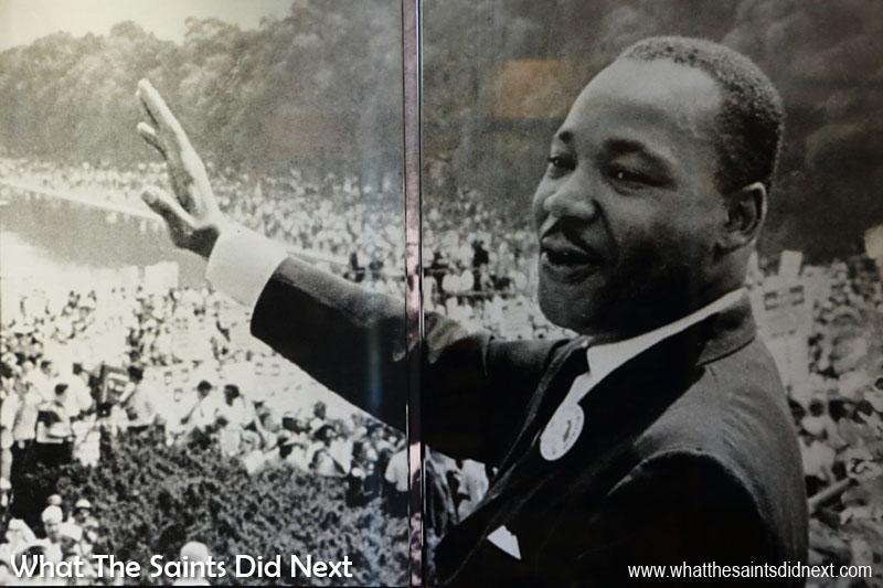 """This classic picture of Martin Luther King, Jr., on the steps of the Lincoln Memorial at the 'March on Washington' event in 1963. More than 250,000 people attended, a record protest attendance at the time in Washington, DC's history. Dr King gave what has become known as his, """"I Have A Dream"""" speech."""