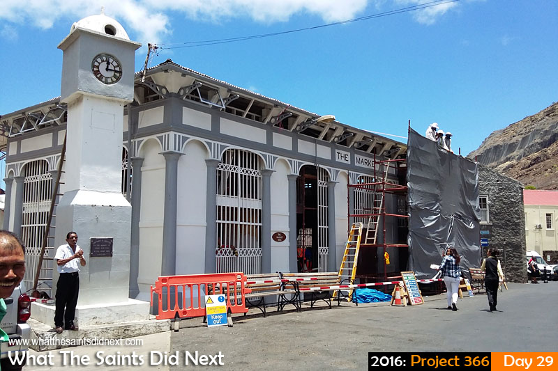 'Bridge Works' 29 Jan 2016, 12:13 - 1/805, f/2.4, ISO-50, Samsung Galaxy A3 What The Saints Did Next - 2016 Project 366 Jamestown Market building on St Helena undergoing renovations.