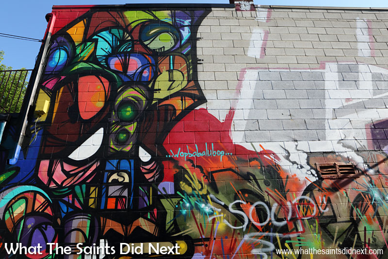 Graffiti Street Art of Toronto - An eclectic mix of colours, lines and shapes and a reference to 'Wopbabalubop' days.