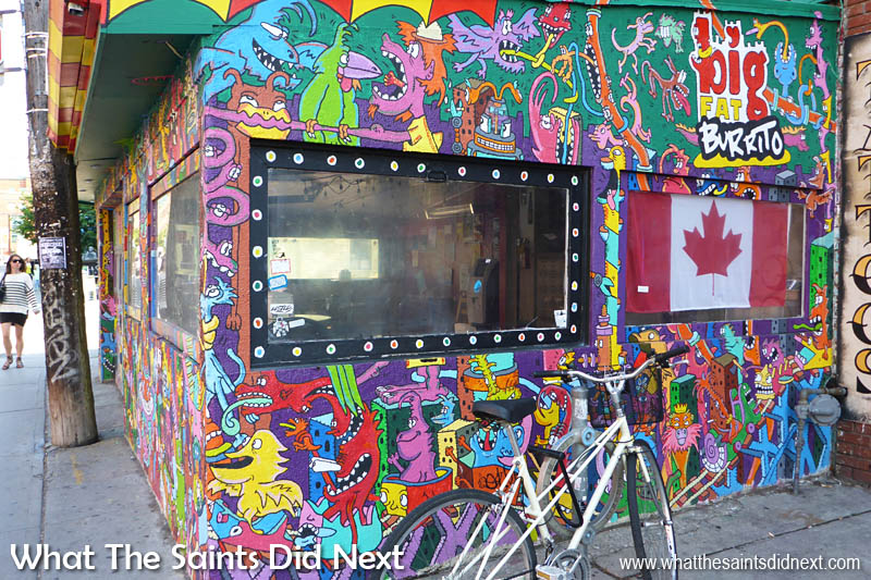 No prizes for guessing what gets sold here. How crazy is this design for Toronto's Big Fat Burrito using graffiti spray.