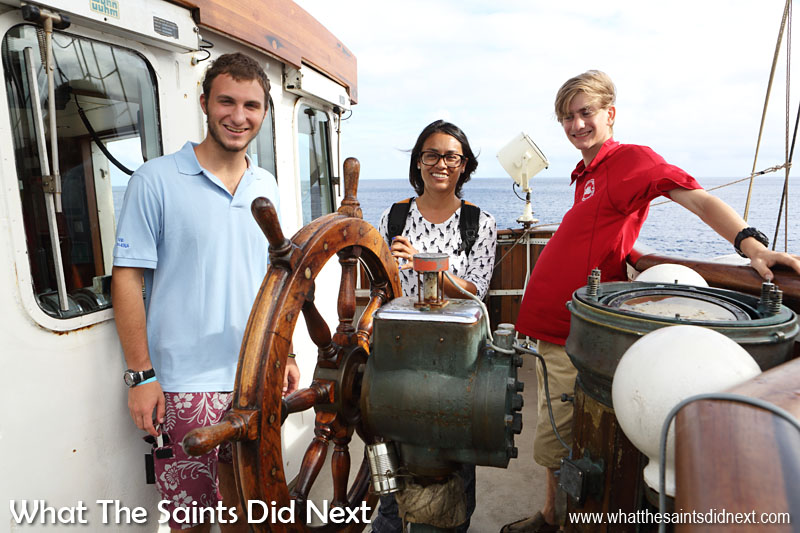 At the helm of Gulden Leeuw with two of our tour guides, Oman and Alec. Both boys are part of the Class Afloat programme which was formed in 1984. Since then over 1,600 Class Afloat students have sailed more than 700,000 nautical miles to over 250 ports of call worldwide.