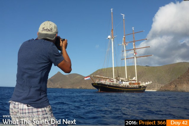 'Roar' 11 Feb 2016, 17:18 - 1/160, f/10, ISO-100 What The Saints Did Next - 2016 Project 366 The Dutch tall ship, Gulden Leeuw, (translates: Golden Lion) visiting St Helena with her Class Afloat students from the USA and Canada.