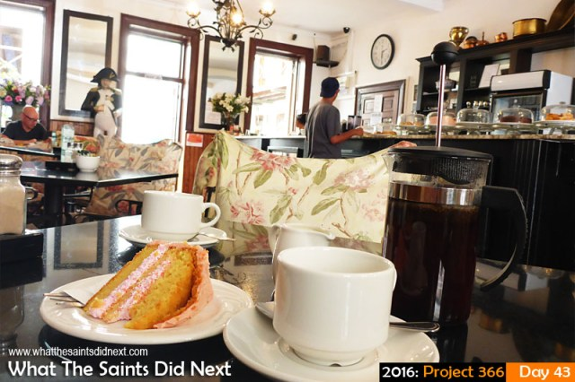 'Like I was there' 12 Feb 2016, 14:38 - 1/25, f/3.3, ISO-400 What The Saints Did Next - 2016 Project 366 Coffee and cake at the Consulate Hotel cafe, Jamestown, St Helena.