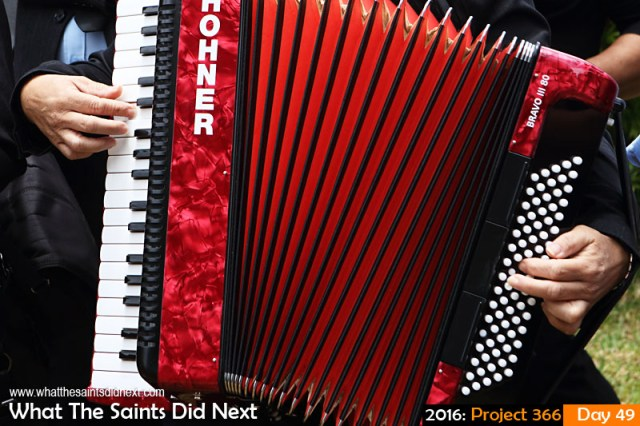 'So long' 18 Feb 2016, 12:01 - 1/200, f/8, ISO-200 What The Saints Did Next - 2016 Project 366 Piano accordian.