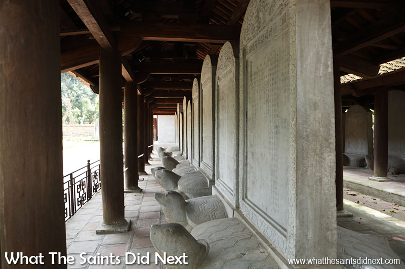 There are a total of 82 stelae in the Hanoi, Temple of Literature, each etched with the names and birthplaces of 1,307 graduates of the 82 exams that took place between 1442 and 1779. The stelae was introduced in 1484.