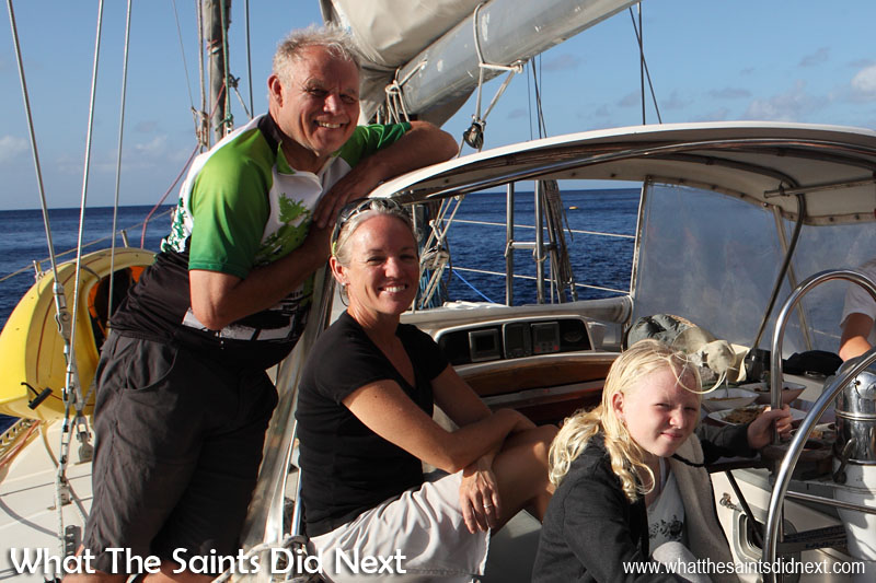 Ty (left) is an long-term family friend who sails with the Giffords from time to time on Yacht Totem. He has joined them to help out on the Atlantic crossing on this stage of their voyage.