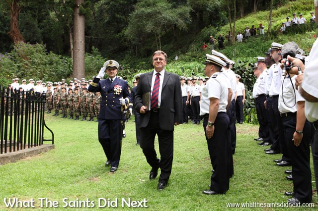 The Governor of St Helena Mark Capes inspecting French troops during a special ceremony at Napoleon's Tomb on St Helena on 15 April, 2014. The troops were off two French Navy warships: the Landing Helicopter Dock (LHD) 'Mistral' and Stealth Frigate (FLF) 'La Fayette.'