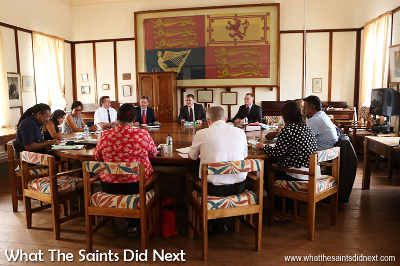 Governor Mark Capes chairing a meeting of St Helena's Executive Council, in the council chambers at the Castle, in Jamestown.  The Governor of St Helena Mark Capes.