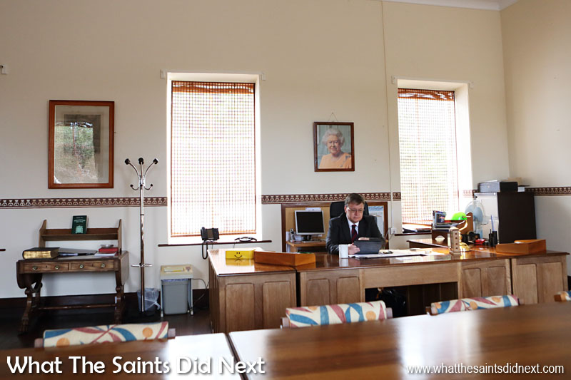 The Governor of St Helena, Mark Capes, at work in his office at The Castle, Jamestown.