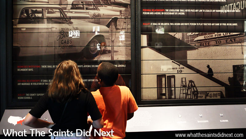 A picture is worth a thousand words. This girl and boy on a school trip would not even have been permitted to attend the same school during the Jim Crow era. Exhibit inside the Center for Civil and Human Rights, Atlanta, Georgia.