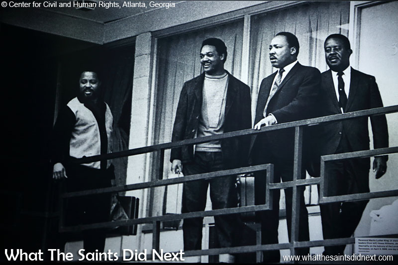 Reverend Martin Luther King Jr stands with fellow civil rights leaders (from left) Hosea Williams, Jesse Jackson and Ralph Abernathy on the balcony of the Lorraine Motel in Memphis, Tennessee, on April 3 1968, one day before King's assassination. (photograph displayed in Center for Civil and Human Rights, Atlanta, Georgia)
