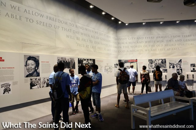 The 'Rolls Down Like Water' gallery inside the Center for Civil and Human Rights, Atlanta. An exhibition to read, see, hear and feel history.
