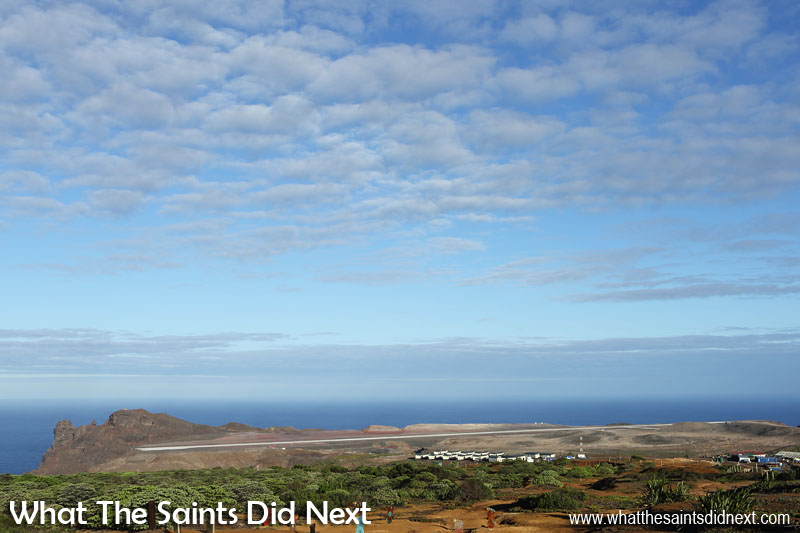 The St Helena Airport on Prosperous Bay Plain, viewed from the Millennium Forest. The Bradley's Camp built to house the Basil Read construction workers from South Africa is visible in the foreground.