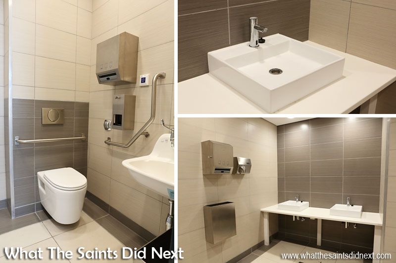Inside the new St Helena Airport - public toilets on the concourse.