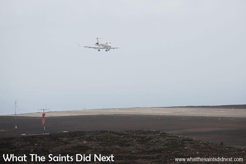First jet plane landing on St Helena - on final approach. The Bombardier Challenger 300 didn't do a fly by even though it was the first jet plane to land at the new airport, it lined up and touched down first time.