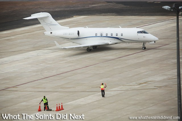 First jet plane to land on St Helena - turning on the parking apron.
