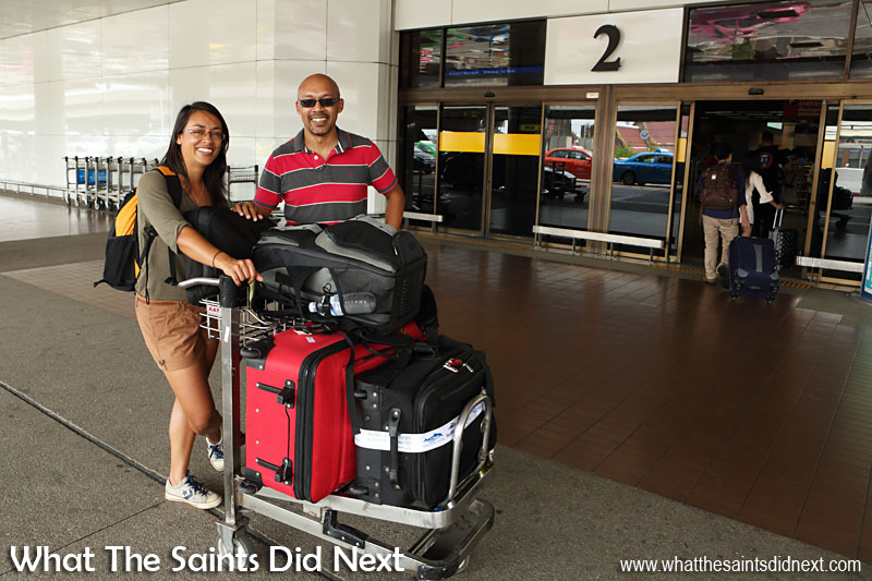 This is us preparing to check in for a flight in Southeast Asia during What The Saints Did Next's travels last year. According to information published by the St Helena Access Office in March 2015, for St Helena's Comair flights, the Traveller (economy) Class baggage allowance is 1 bag up to 23kg. Club or business class has an allowance of 2 bags up to 23kg each.