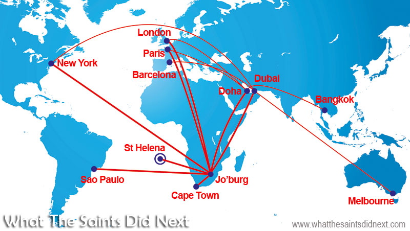 Potential flight paths now becoming available to anyone travelling from St Helena to the world, via Johannesburg, South Africa. Travel times will be slashed from days to hours - Cost of flights to St Helena.