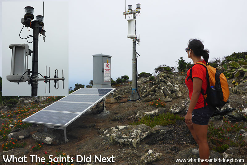 There are a number of these solar powered safety beacons that have been installed on top of the Barn as part of the St Helena Airport project. Quite impressive that someone carried all this equipement up here!