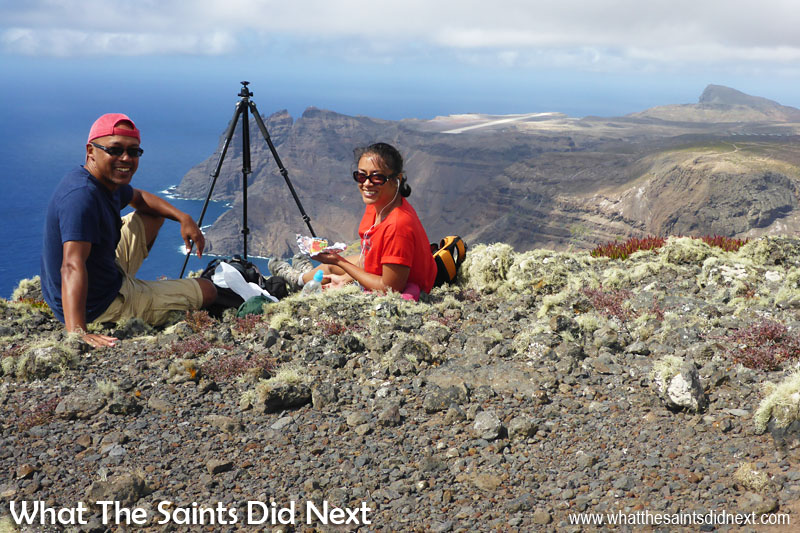 Amazing views from the top of The Barn, especially with the weather now clear. Munching into our sandwiches and birthday cake while we wait on Comair/British Airways to arrive at St Helena.