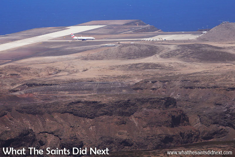 St Helena's new Airport has passed its first big test - a Boeing 737-800 has made a first landing and is taxing to the terminal.