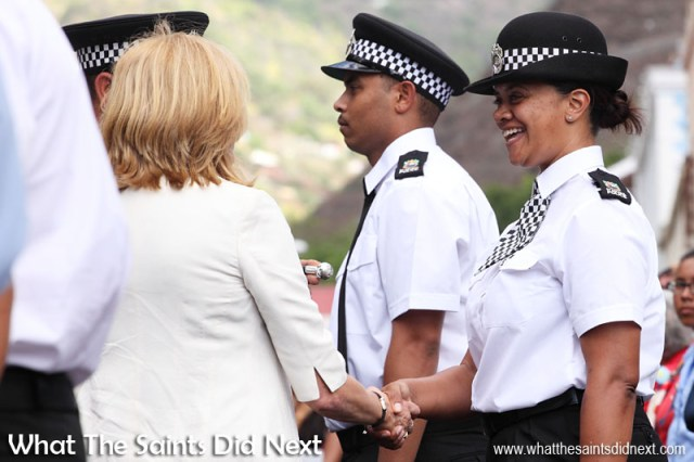 During the traditional inspection of the uniformed contingent Governor Phillips took time to say 'hello' to most of those in attendance - here meeting WPC Abby Kirk. Inauguration Ceremony of Her Excellency the Governor, Ms Lisa Phillips - Supreme Court Terrace, Jamestown, St Helena.