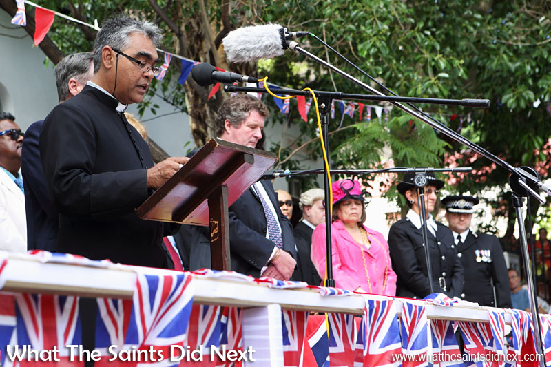 Leading the prayers, Vicar General, Venerable Archdeacon of St Helena, Father Dale Bowers. Inauguration Ceremony of Her Excellency the Governor, Ms Lisa Phillips - Supreme Court Terrace, Jamestown, St Helena.