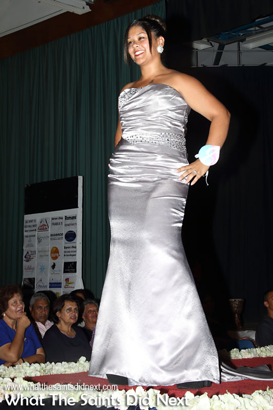 Tara Plato, contestant no.8, in second round evening wear. Miss St Helena 2016 beauty pageant held at Prince Andrew School.