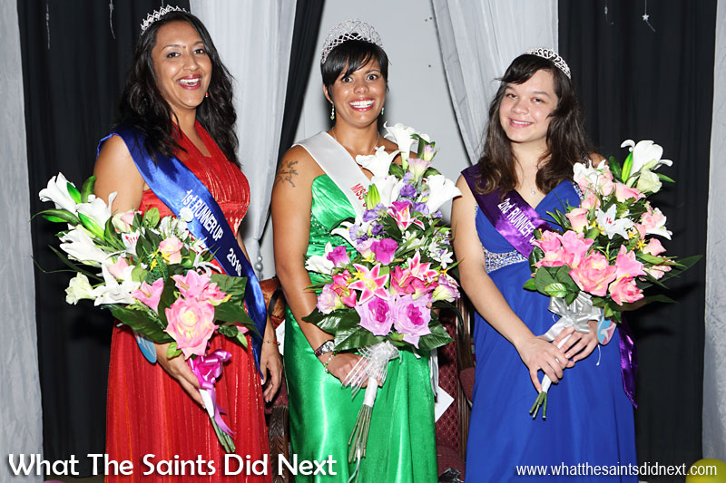 Miss St Helena 2016, Kimley Yon with 1st Runner Up, Kaylee Young (left) and 2nd Runner Up, Jodie Scipio-Constantine (right).