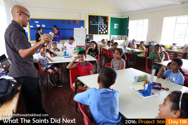 'IDAHO' 17 May 2016, 11:51 - 1/100, f/6.3, ISO-800 What The Saints Did Next - 2016 Project 366 Talking blogging with pupils at St Pauls Primary School, St Helena.
