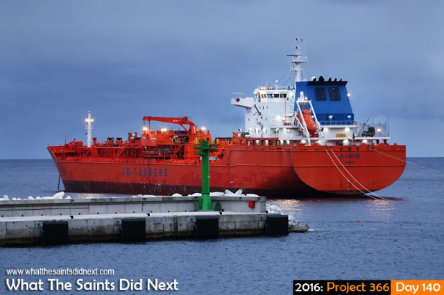 'Ruined' 19 May 2016, 06:33 - 1/60, f/4, ISO-400 What The Saints Did Next - 2016 Project 366 Jo Lotus tanker discharging fuel at St Helena Island.