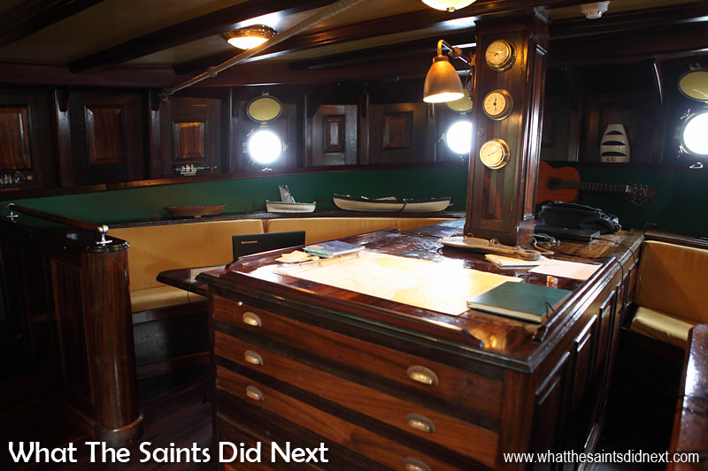 The library and chart room located right at the stern of Bark Europa. This area also known as the quiet room.