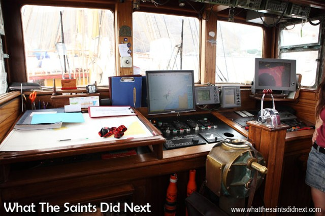 On the bridge of Bark Europa. Very high tech with GPS and radar systems for navigation.
