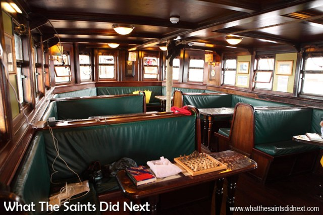 The passenger dining room on Bark Europa, which also doubles as a recreation area.