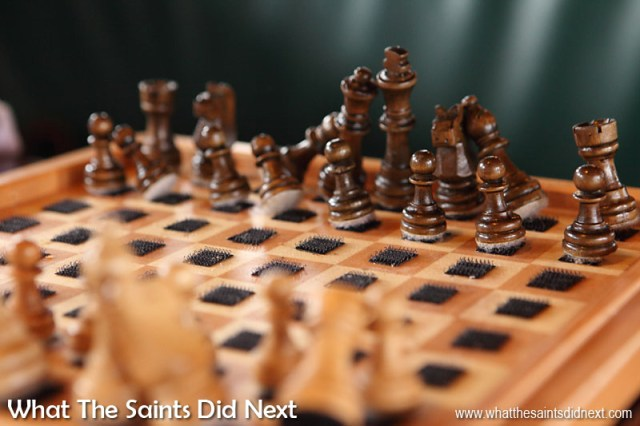 Stuck on you - velcro has been added to the Bark Europa chess set to keep everything in place during a game at sea.