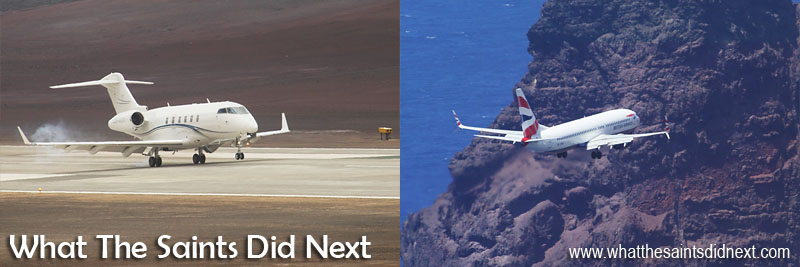 Other milestone events for St Helena Airport: The first jet plane to land (left) on 10 April 2016 and the first 'big' airplane to land (right), a Comair operated British Airways 737-800 on 18 April 2016.